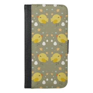 Capa Carteira Para iPhone 6/6s Plus Pintinhos bonitos da páscoa e teste padrão pequeno