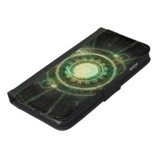 Capa Carteira Para iPhone 6/6s Plus Pulso de disparo verde do caos, Fractal Manda da