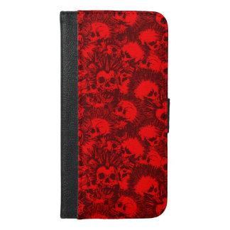Capa Carteira Para iPhone 6/6s Plus punk do crânio