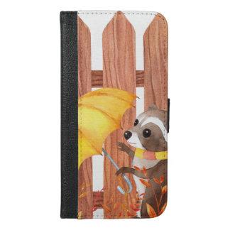 Capa Carteira Para iPhone 6/6s Plus racoon com guarda-chuva que anda pela cerca