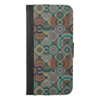 Capa Carteira Para iPhone 6/6s Plus Retalhos do vintage com elementos florais da