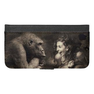 Capa Carteira Para iPhone 6/6s Plus Riso do gorila do fazer da mulher