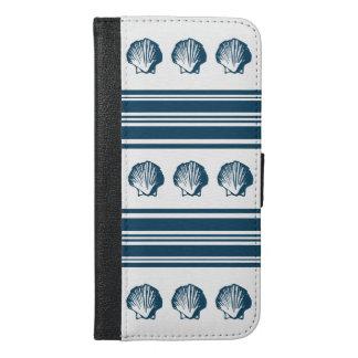 Capa Carteira Para iPhone 6/6s Plus Seashells e listras