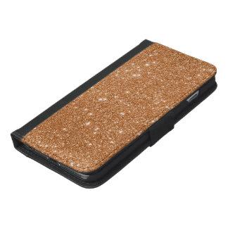 Capa Carteira Para iPhone 6/6s Plus Sparkles alaranjados queimados do brilho