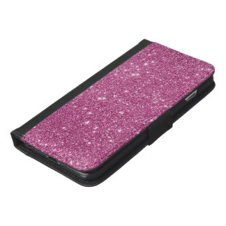 Capa Carteira Para iPhone 6/6s Plus Sparkles do brilho do rosa quente