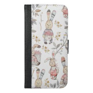 Capa Carteira Para iPhone 6/6s Plus Teste padrão bonito da aguarela dos coelhinhos da