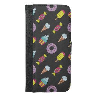 Capa Carteira Para iPhone 6/6s Plus Teste padrão da comida do divertimento