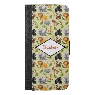 Capa Carteira Para iPhone 6/6s Plus Teste padrão da selva do safari do animal selvagem