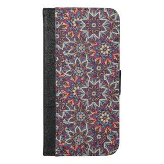 Capa Carteira Para iPhone 6/6s Plus Teste padrão floral étnico abstrato colorido da