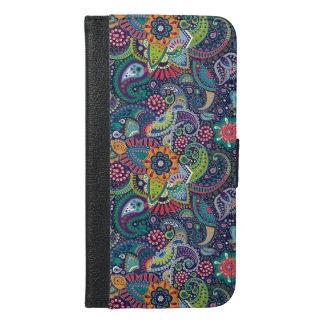Capa Carteira Para iPhone 6/6s Plus Teste padrão floral multicolorido de néon de