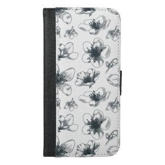 Capa Carteira Para iPhone 6/6s Plus Teste padrão floral preto & branco