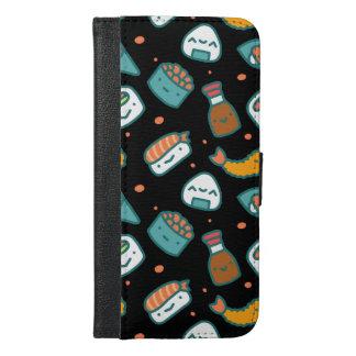 Capa Carteira Para iPhone 6/6s Plus Teste padrão sem emenda feliz bonito do sushi no