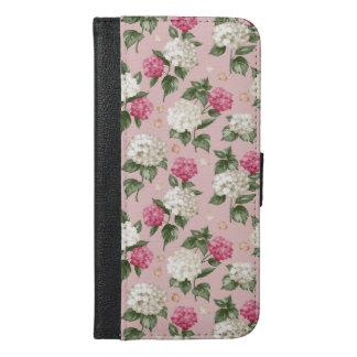Capa Carteira Para iPhone 6/6s Plus Teste padrão sem emenda floral do Hydrangea