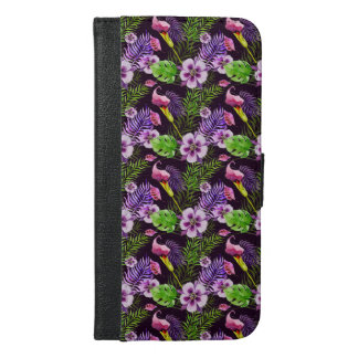 Capa Carteira Para iPhone 6/6s Plus Teste padrão tropical roxo preto da aguarela da