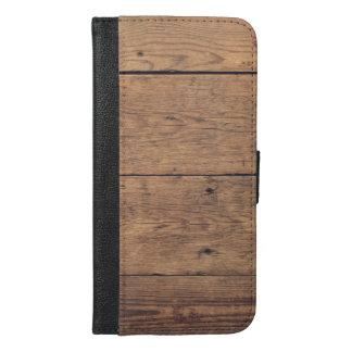 Capa Carteira Para iPhone 6/6s Plus Textura de madeira