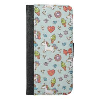 Capa Carteira Para iPhone 6/6s Plus Unicórnio mágico bonito