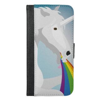 Capa Carteira Para iPhone 6/6s Plus Unicórnios puking da ilustração
