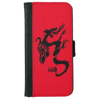 Capa Carteira Para iPhone 6/6s Símbolo do dragão, vermelho