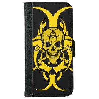 Capa Carteira Para iPhone 6/6s Sorrindo o cobrir da carteira de Iphone do crânio