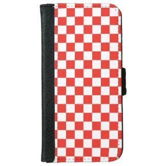 Capa Carteira Para iPhone 6/6s Tabuleiro de damas vermelho