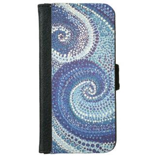 Capa Carteira Para iPhone 6/6s Tampa pintado mão do telemóvel dos pontos da onda