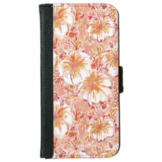 Capa Carteira Para iPhone 6/6s Teste padrão tropical do hibiscus do pêssego de