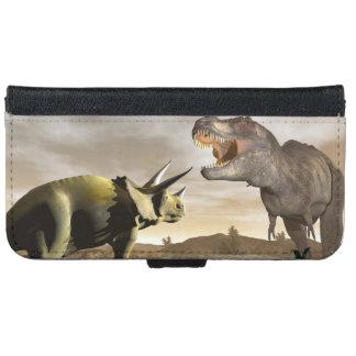Capa Carteira Para iPhone 6/6s Tiranossauro que ruje no triceratops - 3D rendem