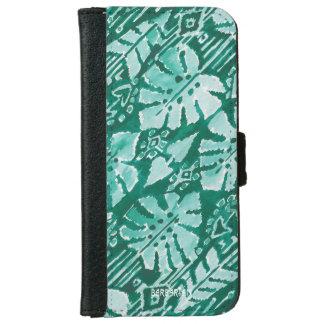 Capa Carteira Para iPhone 6/6s Tropical tribal verde havaiano da SELVA IKAT