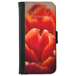 Capa Carteira Para iPhone 6/6s Tulipa vermelha