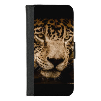 Capa Carteira Para iPhone 8/7 A cara do gato grande de animal selvagem de Jaguar
