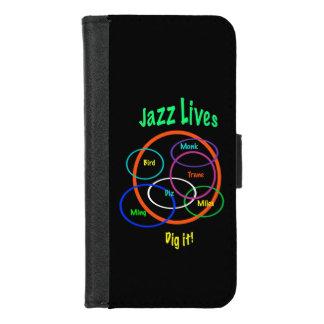 Capa Carteira Para iPhone 8/7 A música jazz vive iPhone preto 8/7 de caixa da