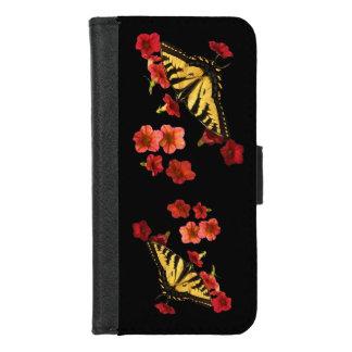 Capa Carteira Para iPhone 8/7 As borboletas no vermelho florescem o iPhone 8/7