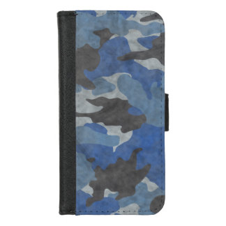 Capa Carteira Para iPhone 8/7 As forças armadas azuis de Camo do Grunge legal