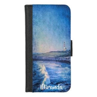 Capa Carteira Para iPhone 8/7 As ondas do farol e de oceano adicionam o nome