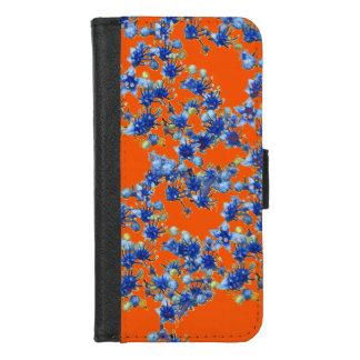 Capa Carteira Para iPhone 8/7 Azuis marinhos e laranja do Hydrangea