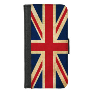 Capa Carteira Para iPhone 8/7 Bandeira velha Union Jack de Reino Unido do Grunge