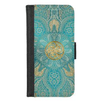 Turquoise Gold Celtic Mandala iPhone Wallet Case