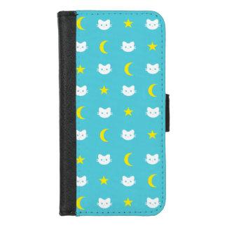 Capa Carteira Para iPhone 8/7 Caixa da carteira da lua do gato do gatinho e do