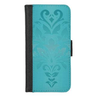 Capa Carteira Para iPhone 8/7 Caixa da carteira do damasco do Grunge de turquesa