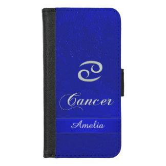 Capa Carteira Para iPhone 8/7 Caixa de couro azul da carteira do cancer do sinal
