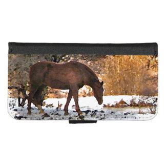 Capa Carteira Para iPhone 8/7 Cavalo de Brown no iPhone do inverno 8/7 de caixa