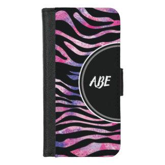 Capa Carteira Para iPhone 8/7 Da aguarela animal de Printe da zebra monograma
