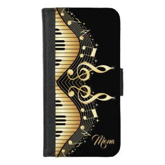 Capa Carteira Para iPhone 8/7 Design elegante das notas da música do ouro