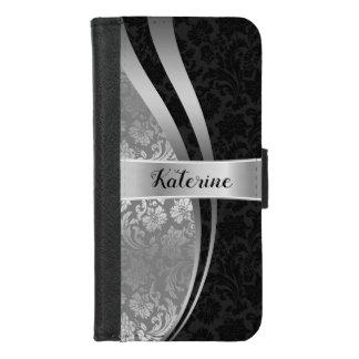 Capa Carteira Para iPhone 8/7 Design geométrico elegante dos damascos pretos &