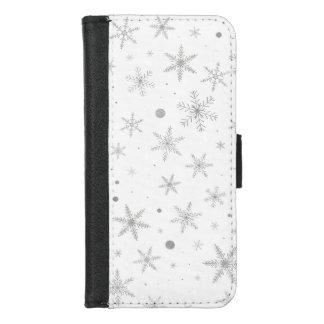 Capa Carteira Para iPhone 8/7 Floco de neve da cintilação - cinza & Branco de