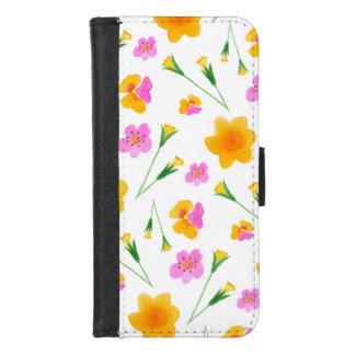 Capa Carteira Para iPhone 8/7 Flores amarelas e cor-de-rosa da aguarela