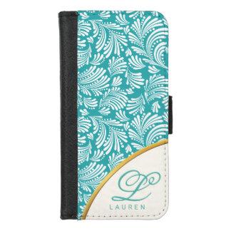 Capa Carteira Para iPhone 8/7 Fólio azul elegante floral abstrato do monograma