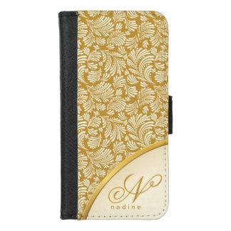 Capa Carteira Para iPhone 8/7 Fólio elegante floral abstrato do monograma das