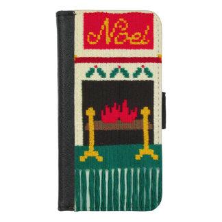 Capa Carteira Para iPhone 8/7 Impressão original do Crochet da lareira do Natal