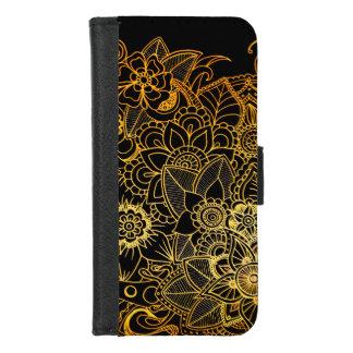 Capa Carteira Para iPhone 8/7 iPhone 8/7 de ouro floral G523 do Doodle da caixa